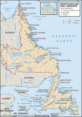 Physical map of Newfoundland and Labrador, Canada, showing major islands, lakes and other features