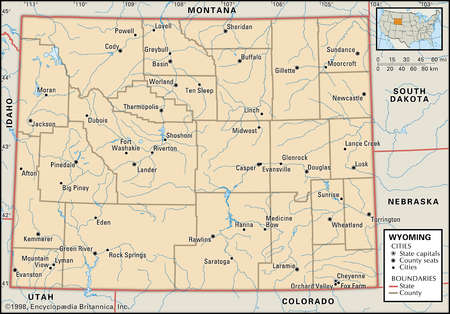 Map of the state of Wyoming