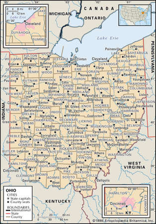 map of the state of Ohio showing counties and county seats, includes insets of the Cleveland and Cincinnati metropolitan areas