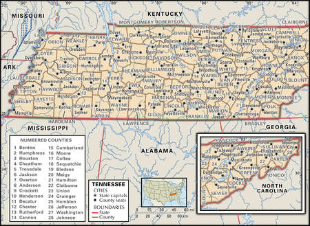 Map of the state of Tennessee  showing counties and county seats