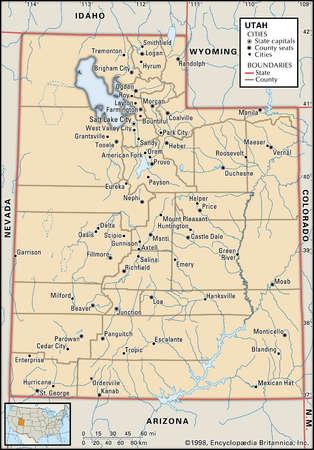 Map of the state of Utah