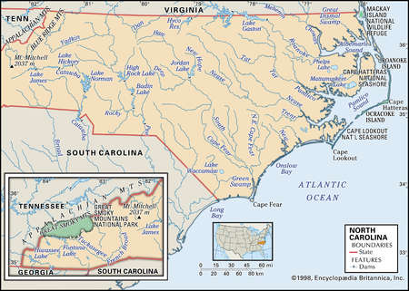 Physical map of the state of North Carolina major national parks, lakes mountains and other features