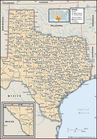 Map of the state of Texas