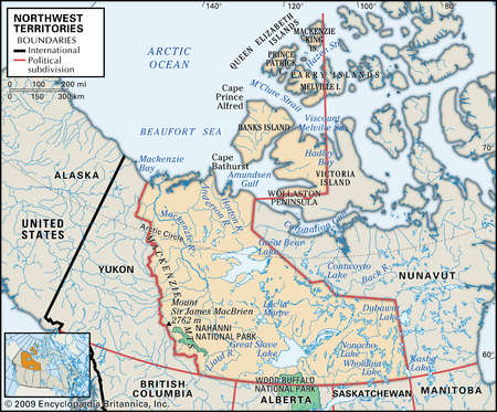 Physical map of Northwest Territories, Canada, showing major national parks, lakes and other features