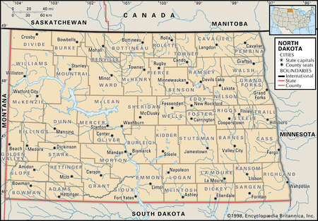 Stock Illustration Map Of The State Of North Dakota Showing - State map of north dakota