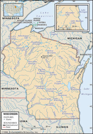 Stock Illustration - Physical map of the state of Wisconsin showing ...