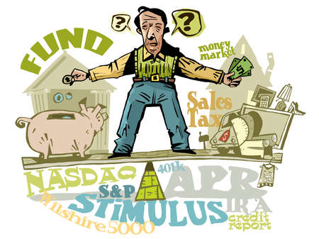Illustration of man bewildered by financial terms