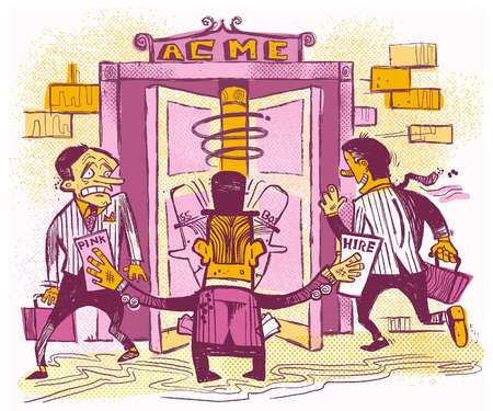 Stock Illustration - Illustration of man, laid off and then rehired