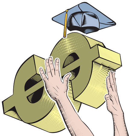Illustration of two hands trying to grasp a dollar sign with a mortarboard on top