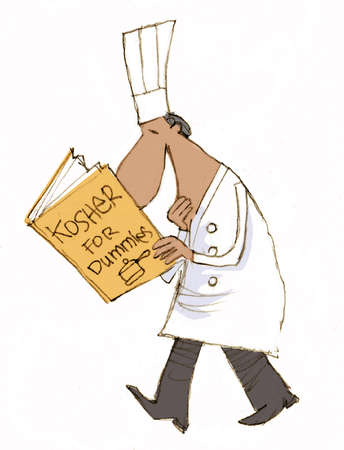 Illustration of chef brushing up on how to prepare kosher meals