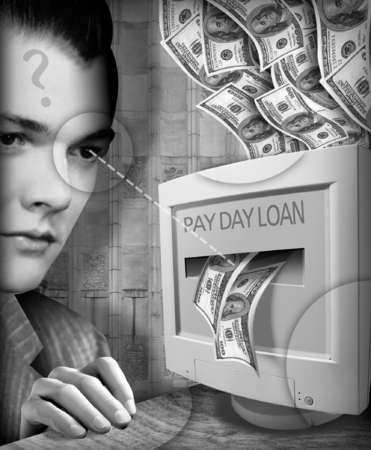 Illustration of computer labeled 'PAYDAY LOAN' spitting out cash