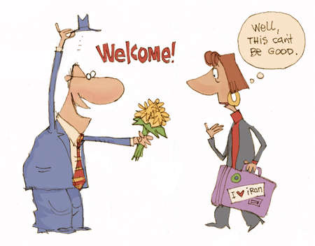 Illustration of man welcoming international visitor with a bouquet of yellow flowers