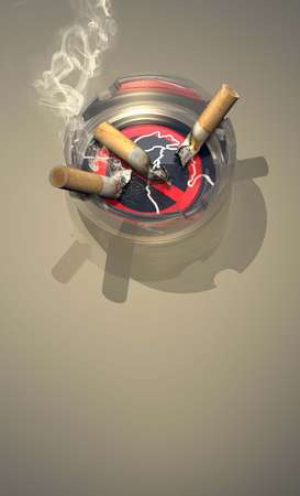 Illustration of cigarette-butt-filled ashtray sitting on a no-smoking coaster