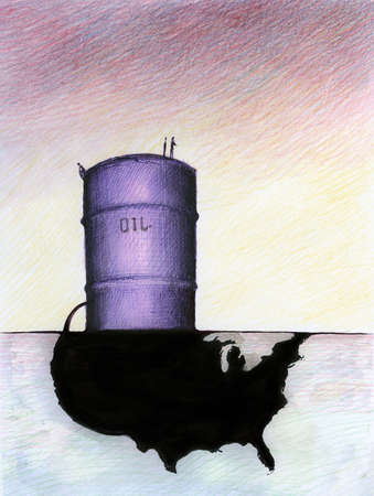 Oil barrel leaking oil onto map of United States