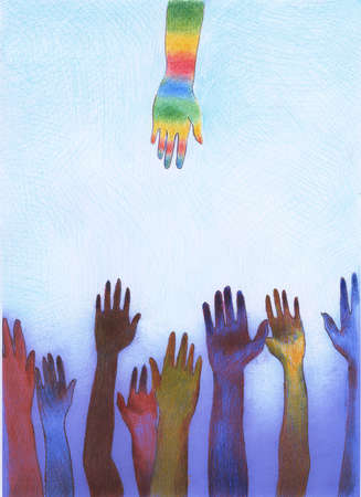 Rainbow hand reaching down to diverse raised hands