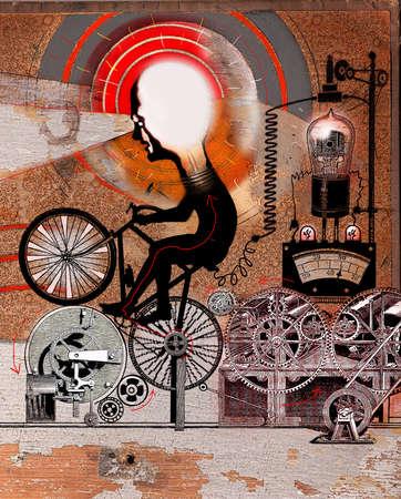 Man riding bicycle powering light bulbs