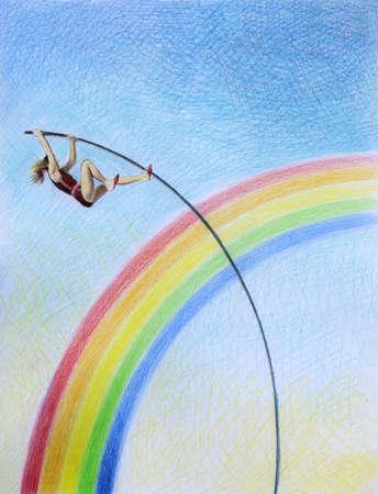 Pole vaulter clearing rainbow