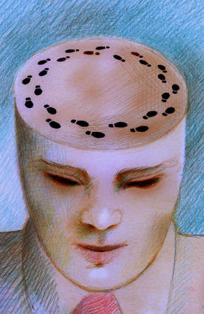 Businessman's head with footprints on top