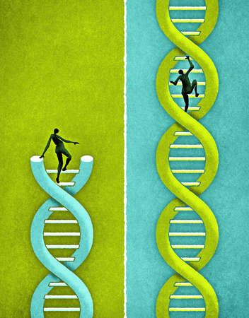 Man climbing DNA next to man on broken DNA