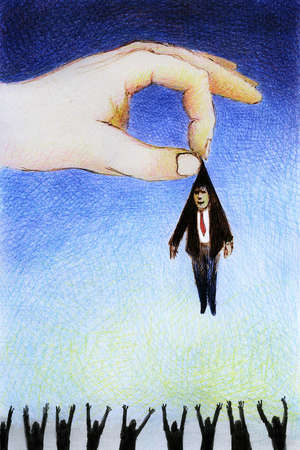 Large hand holding small businessman
