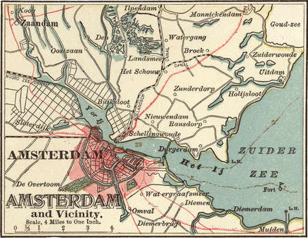 Map of the city of Amsterdam, circa 1900, from the 10th edition of Encyclopaedia Britannica.