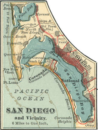 Map of San Diego, California, circa 1900, from the 10th edition of Encyclopaedia Britannica.