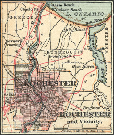 Map of Rochester, New York, circa 1900, from the 10th edition of Encyclopaedia Britannica.