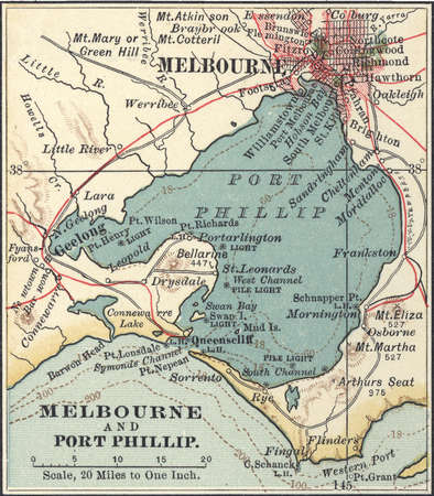 Map of Melbourne, Australia, circa 1900, from the 10th edition of Encyclopaedia Britannica.