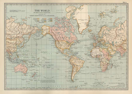 "Map of the world showing ""the Chief Countries and their Colonies,"" circa 1902, from the 10th edition of Encyclopaedia Britannica."