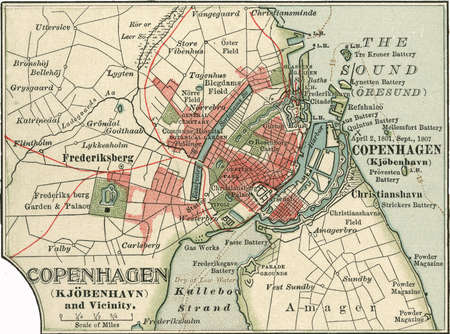 Map of Copenhagen, Denmark, from the 10th edition of Encyclopaedia Britannica.