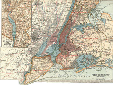 Map of New York City, with an inset of the Hudson River from Yonkers to Kingston, circa 1900, from the 10th edition of Encyclopaedia Britannica.