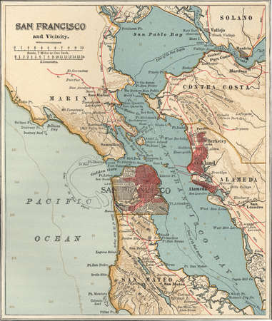 Map of San Francisco Bay, circa 1900, from the 10th edition of Encyclopaedia Britannica.