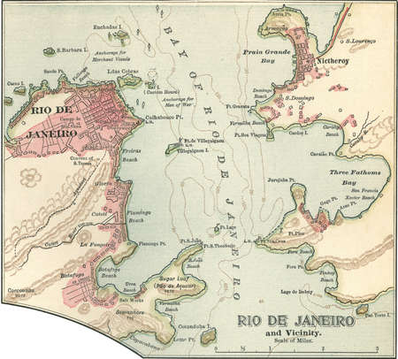 Map of Rio De Janeiro, circa 1900, from the 10th edition of Encyclopaedia Britannica.
