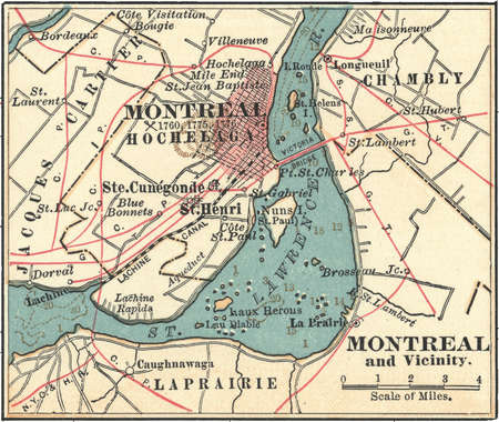 Map of Montreal, circa 1900, from the 10th edition of Encyclopaedia Britannica.