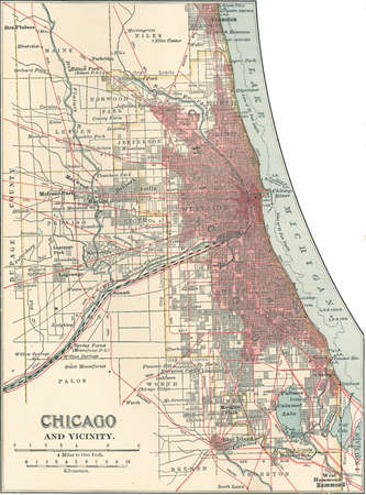 Map of Chicago, Illinois, circa 1900, from the 10th edition of Encyclopaedia Britannica.