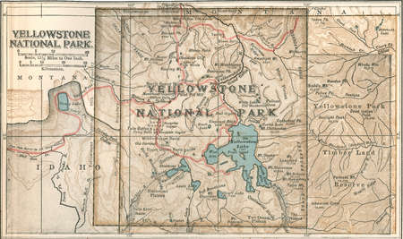 Map of Yellowstone National Park, highlighting major mountain ranges and other features, circa 1900, from the 10th edition of Encyclopaedia Britannica.