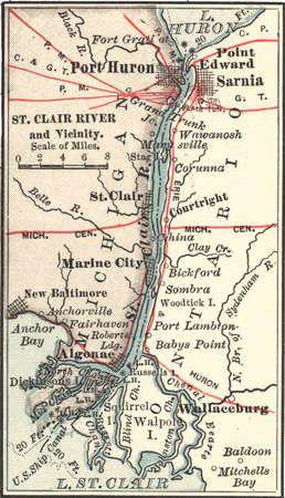 Map of Saint Clair River, Port Huron and Sarnia, circa 1900, from the 10th edition of Encyclopaedia Britannica.