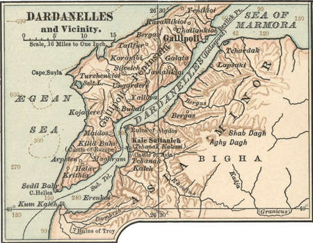 Map of Dardanelles, circa 1900, from the 10th edition of Encyclopaedia Britannica.