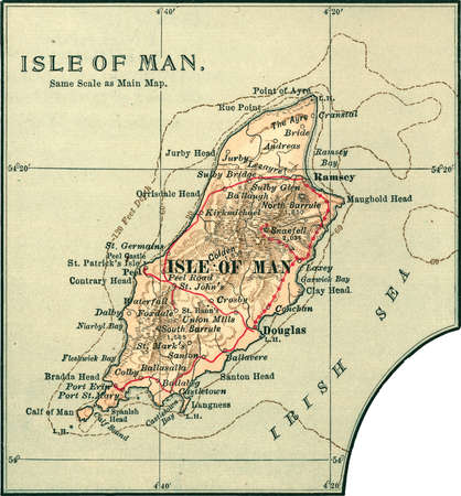 Map of Isle of Man, United Kingdom, circa 1902, from the 10th edition of Encyclopaedia Britannica.