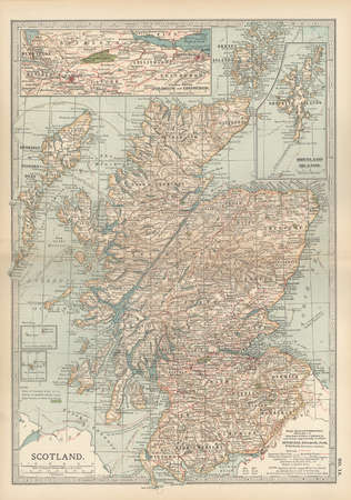 Map of Scotland with inset of Shetland Islands, circa 1902, from the 10th edition of Encyclopaedia Britannica.