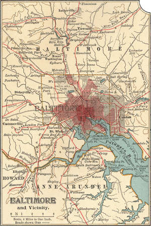 Map of Baltimore, Maryland, circa 1900, from the 10th edition of Encyclopaedia Britannica.