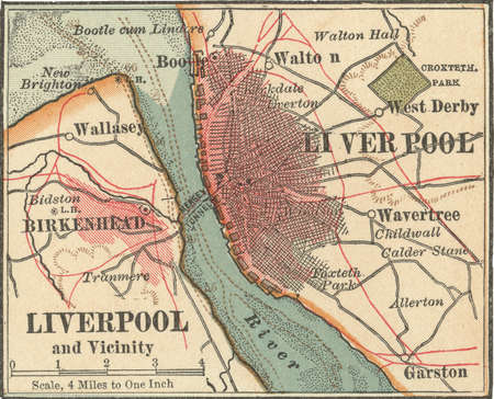 Map of Liverpool, circa 1900, from the 10th edition of Encyclopaedia Britannica.