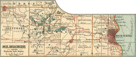 Map of Milwaukee, Wisconsin, circa 1900, from the 10th edition of Encyclopaedia Britannica.