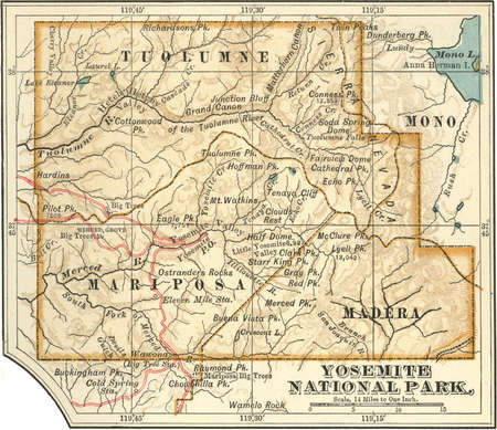 Map of Yosemite National Park, highlighting major parks and other features, circa 1900, from the 10th edition of Encyclopaedia Britannica.