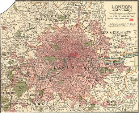 Map of London, England, circa 1902, from the 10th edition of Encyclopaedia Britannica.
