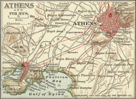 Map showing the historical churches of Athens and Piraeus, circa 1900, from the 10th edition of Encyclopaedia Britannica.