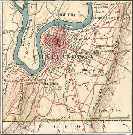 Map of Chattanooga, Tennessee, circa 1900, from the 10th edition of Encyclopaedia Britannica.