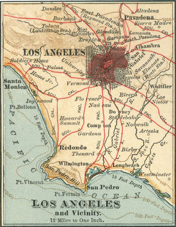 Map of Los Angeles, California, circa 1900, from the 10th edition of Encyclopaedia Britannica.