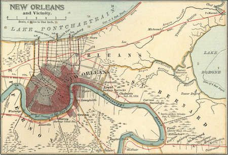 Map of New Orleans, Louisiana, circa 1900, from the 10th edition of Encyclopaedia Britannica.