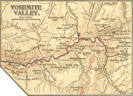 Map of Yosemite Valley, circa 1900, from the 10th edition of Encyclopaedia Britannica.